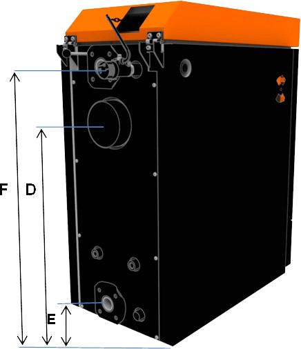 Габаритные размеры универсального твердотопливного котла ОПОП Н4ЕКО