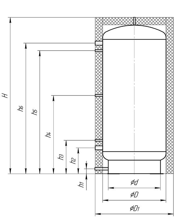 Габаритный чертеж буферной емкости Альтеп S00U