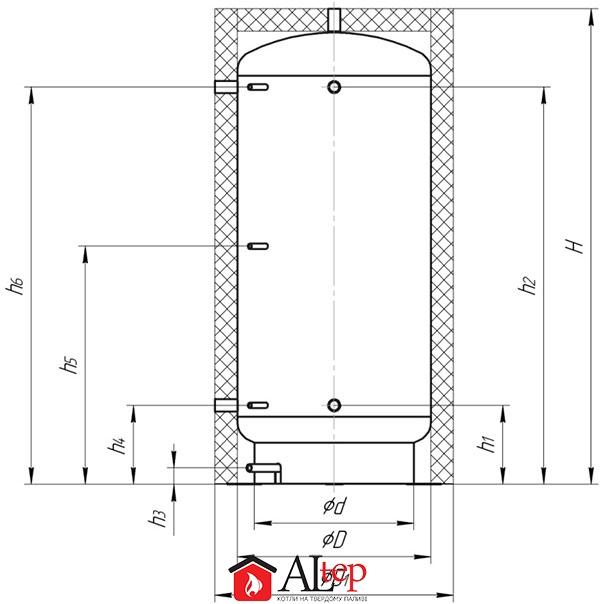 Габаритный чертеж буферной емкости Альтеп S90U