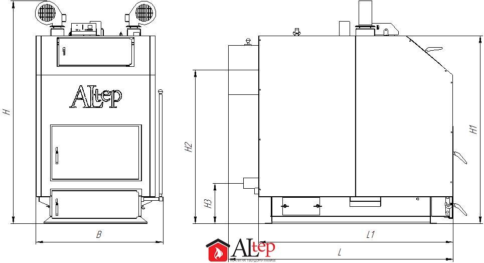 Габаритный чертеж универсального котла Altep KT-3EN